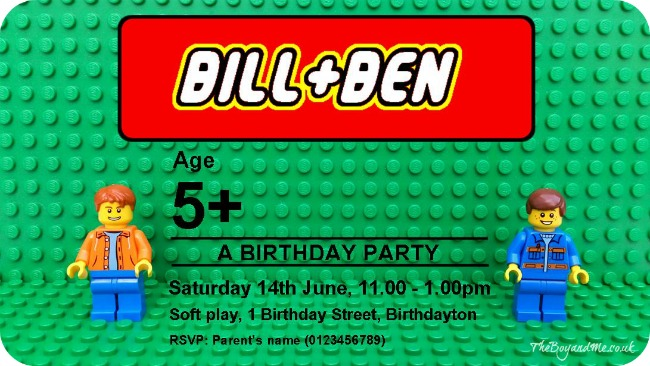 Personalised LEGO Birthday Party Invitation TheBoyandMe
